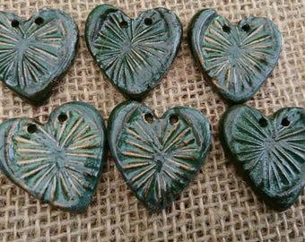 Set of Six Handmade Ceramic Rustic Heart Shaped Buttons/Craft Buttons/Bespoke Buttons/Crochet/Knitting/Sewing/Fashion/Haberdashery.
