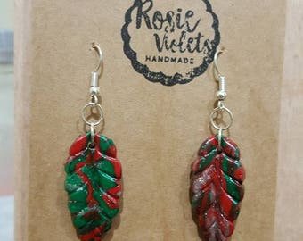 Red and Green christmas polymer clay drop earrings