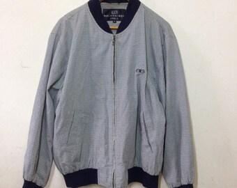 On Sale ! Rare ! Vintage BALENCIAGA Paris Grid Plaid Harrington Lined Bomber Jacket Mens Size 5
