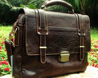 Best Genuine Italian Leather Briefcase Shoulder Messenger Large Business Bag Mens Birthday Gift Mocha Dark Brown Real Luxury Verano