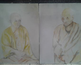 watercolor - two Buddhist monks