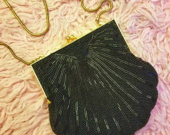 Vintage 1980s Black Bugle Bead Deco Style Evening Purse