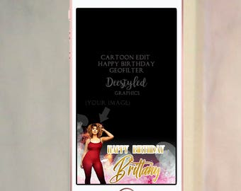 Cartoon snapchat geofilter, custom geofilter, happy birthday geofilter