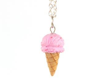 Strawberry ice cream cone necklace
