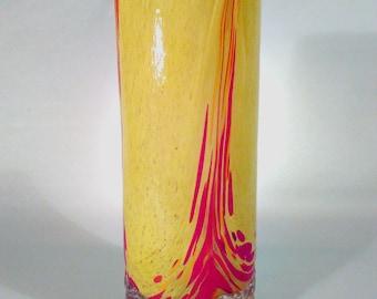 Multicolored Art Deco red yellow glass vase by Franz Welz Kralik