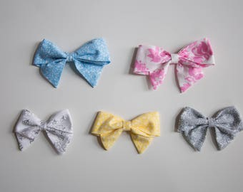 Large & Extra Large Floral Schoolgirl Bows on Headband or Clip