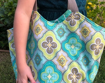 Boho Reversible Bag - Large Aqua Blue Teal Yellow Gray Ogee Pattern - Beach Bag - Purse - Hobo Bag - Handmade