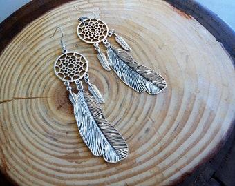 long feather earrings,bohemian earrings,long earrings,dreamcathcer,feather jewellery,Big feather earrings, boho jewelry,handmade jewelry