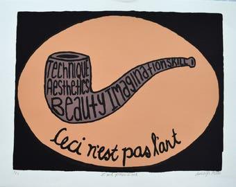 Rene Magritte Inspired Screen Print