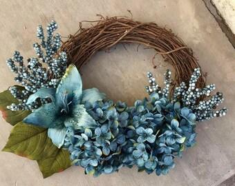 Blue Hydrangea Wreath   Spring Wreath