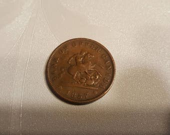 1857 1c One Penny Token Upper Canada One Cent Bank Token