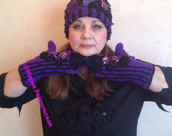 """Knitted hat and mittens """"Purple Evening"""""""