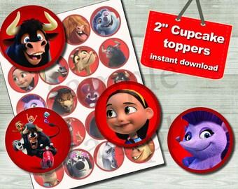 ferdinand the bull cupcake toppers, ferdinand movie ,  Birthday party  Printable (digital file)
