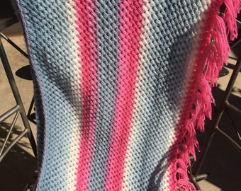 Crochet infintity scarf with tassles