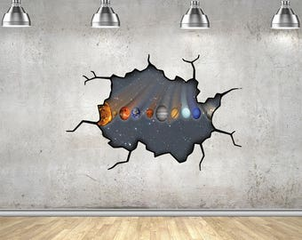 Solar System Full Colour Wall Art Sticker - Moving Planets - Space.