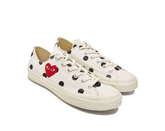 COMME des GARÇONS Play x Converse Polka Dot White Low All Sizes Limited Edition
