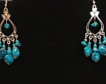 Silver blue beaded dangle Earrings