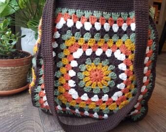 Multi-colored crocheted tote