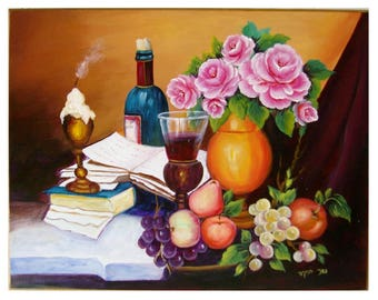 Flowers and wine-Handmade Acrylic painting on wood-still life-still life painting-decorative painting-realistic painting-romantic painting