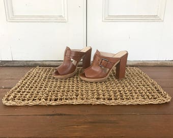 Leather High Heel Mules