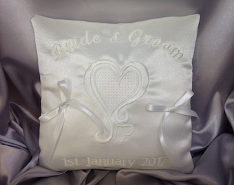 Wedding Ring Cushion, Personalised Ring Bearer Pillow, Bridal Accessory, Wedding Decoration, Love Heart, White or Ivory, 7 inches, RC-2