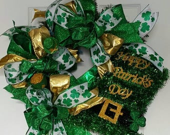 Saint Patrick's Day Wreath Green Gold Shamrock