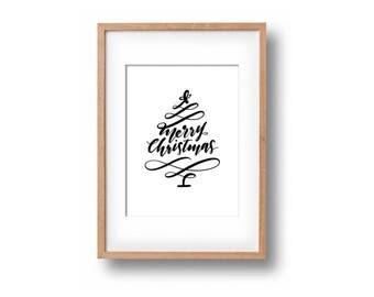 Merry Christmas Tree Handlettered Print (Various Sizes)