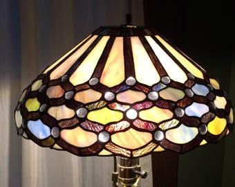 Gorgeous Vintage Heavy Stained Glass Lamp Shade - small crack in two panes