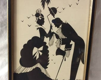 "The Cavalier by Buckbee Brehm - 1929 Victorian Silhouette - Near Mint Condition - 8 1/2"" x 6 1/2"""