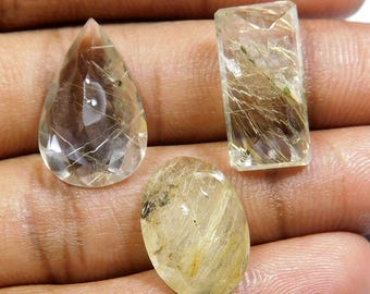 24.40 cts 100 % Natural Wonderfull Clasical Top Quality Grad 4 Pice Lot Chokar Cut Golden Rutail Quarts Nice Cobchon Loose Gemstone GR-05