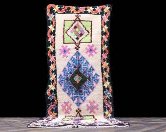 Azilal Rugs - Rugs 3x8 Moroccan rug, vintage rug,OldBerber Carpet,Handmade Rug,Oriental Carpet, Berber Rug, Azilal Runner, Boucherouite