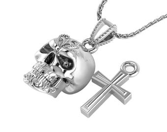 """Skull and Cross Necklace with 24"""" Solid Chain Made in Sterling Silver"""