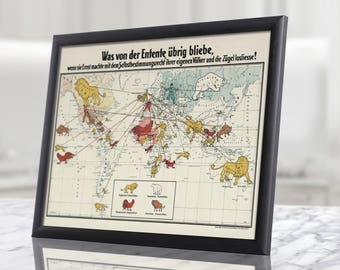 WW1 German Map of the World War Reproduction Poster - Solid Wood (natural) Framed + Safety Glass - Black, Brown, Yellow frames, military map