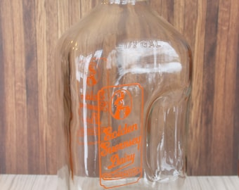 Vintage Glass Milk Bottle Half Gallon 1/2 Golden Guernsey Dairy Co-Op Clear Glass with Orange Printing