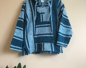 80's woven baja beach hoodie • Vintage • Mexico • Mexican Blanket • California • Hooded Sweater • Blue • Boho • Hippie • Grunge • 1980's