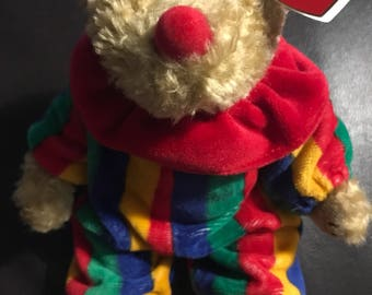 1993 TY Beanie Babies The Attic Treasures Collection - Piccadilly The Clown Bear Plush Stuffed Toy Vintage Rare