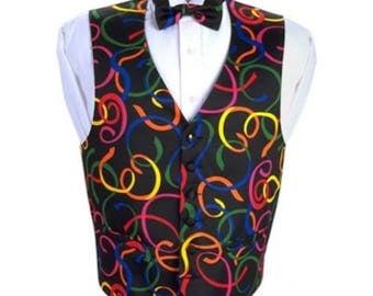 Mardi Gras Serpentine Tuxedo Vest and Bow Tie