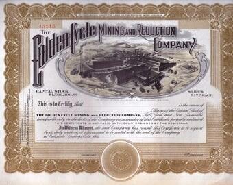 Mining Company Stock Certificate :