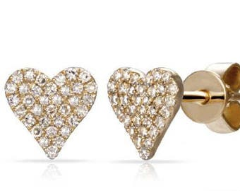 Heart LOVE  Shaped Crawlers Small Diamond Stud Earrings 14k Gold - 0.20 Ct.