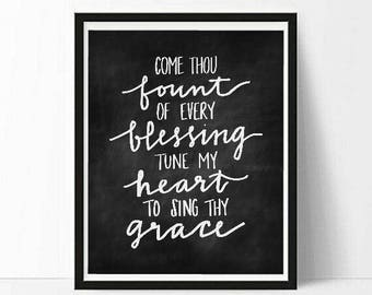 Come Thou Fount of Every Blessing - Chalkboard - Black and White Print - 8x10 - 5x7 - Instant Download Hymn Art