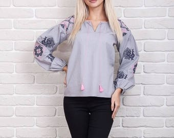 Linen Embroidered Blouse Top Gray Pink