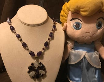 Hand made beaded amethyst necklace