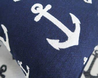 Anchor print cushion, navy print decorative pillow