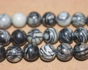 15 inches Full strand,Grade A black picasso jasper smooth round beads 6mm 8mm 10mm 12mm,loose beads,semi-precious stone