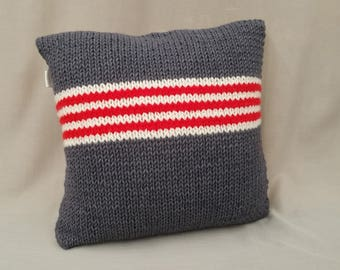 Decorative Grey upholstery cushion with red stripes handmade in knitted needles with bio wool cm 40 x 40