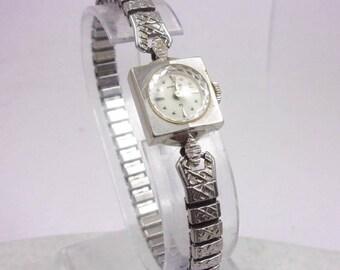 Solid 14K White Gold Hamilton Ladies Watch, 1960s, Vintage, Runs, Wind Up