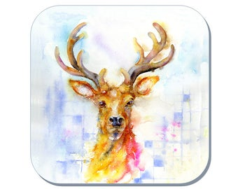 Stag Coaster (Corked Back) - from an original Sheila Gill Watercolour Painting