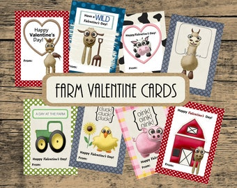 Farm Valentine Printable, Valentine Cards, Kids Valentines, Valentine Printable, Animal Valentine Cards, Instant Download