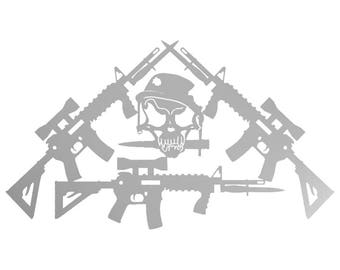 Metal, Art, Home Decor, Skulls, Guns