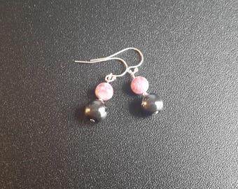 Sterling Silver Hematite and Lepidolite Earrings